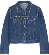 Miu Miu Embellished Denim Jacket - Mid denim