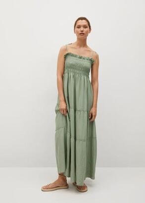 MANGO Elastic panel linen dress