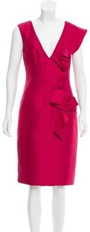 Valentino Ruffle-Accented Silk Dress