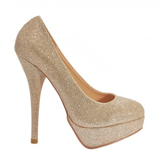 Truffle Collection Gold Mesh Peep-Toe Platform High Heels