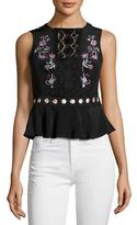 Nanette Lepore Posey Sleeveless Silk Crepe de Chine Top, Black