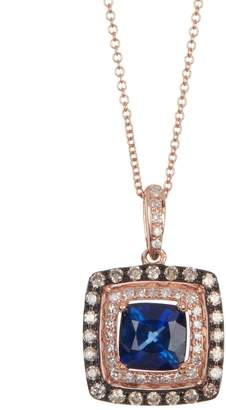 Effy 14K Rose Gold Two-Tone Diamond & Sapphire Pendant Necklace