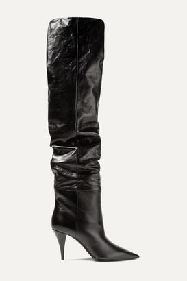 Saint Laurent Kiki Textured-leather Over-the-knee Boots - Black