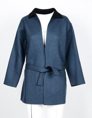 Lamberto Losani Petrol Blue Wool, Cashmere and Silk Women's Jacket