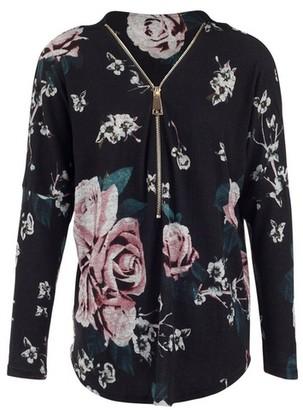 Dorothy Perkins Womens *Izabel London Black Floral Print Sweatshirt, Black