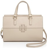 Tory Burch Stacked-T Mixed Material Satchel