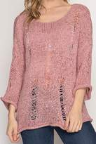 She + Sky Pink Distressed Sweater