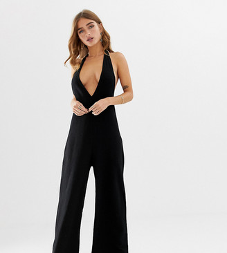 Asos DESIGN Petite halter neck jumpsuit with plunge front-Black