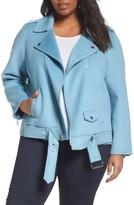 MICHAEL Michael Kors Plus Size Women's Wool Blend Moto Jacket