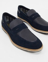 Base London combie embossed loafers in navy suede