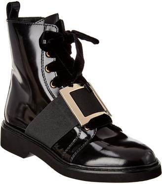Roger Vivier Viv Rangers Metal Buckle Patent Ankle Boot