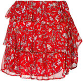 IRO floral ruffle mini skirt