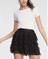 Express High Waisted Ruffle Mini Skirt