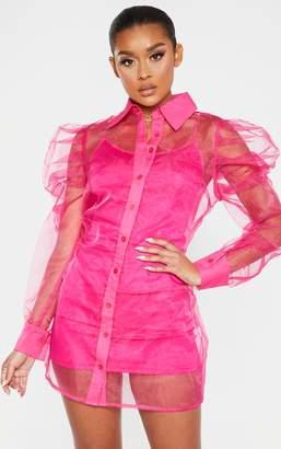 PrettyLittleThing Hot Pink Puff Shoulder Organza Shirt Dress