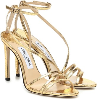 Jimmy Choo Tesca 100 metallic leather sandals