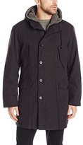 DKNY Men's Dickson 38 Inch Hooded Raincoat with Removable Sherpa Liner