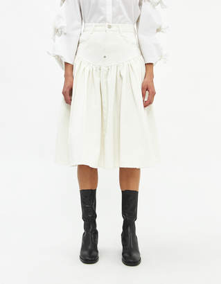 pushBUTTON Women's Washed Flare Denim Skirt in White, Size Small | 100% Cotton