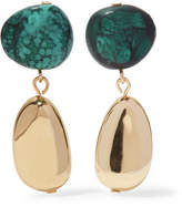 Dinosaur Designs Short Mineral Gold-tone Resin Earrings - Green