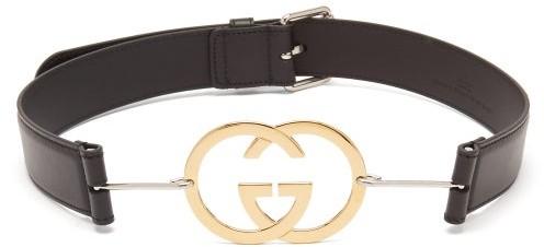 Gucci GG-plaque Leather Belt - Black