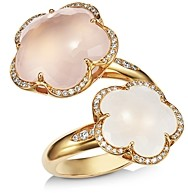 Pasquale Bruni 18K Rose Gold Bon Ton Goddesses Milky & Rose Quartz Bypass Ring