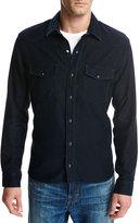 Vince Cotton-Modal Western Shirt, Blue