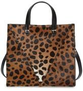 Clare Vivier 'Petit Simple' Leopard Print Genuine Calf Hair Tote - Brown