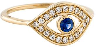 Adornia Fine 14K 0.27 Ct. Tw. Diamond & Sapphire Evil Eye Ring