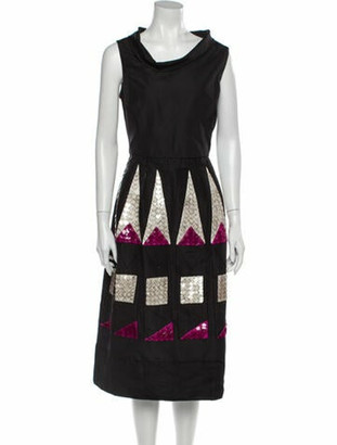 Oscar de la Renta Printed Midi Length Dress Black