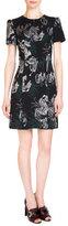 Erdem Aubrey Metallic-Embroidered Dress, Black/Silver