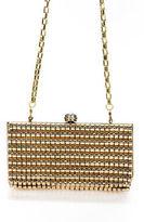 Sondra Roberts Gold Tone Metallic Hard Metal Clutch Handbag New $115 90045171