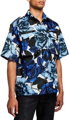 Prada Men's Rose-Print Double-Pocket Sport Shirt