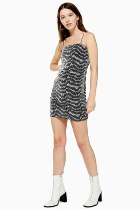 Topshop Womens Silver Glitter Metallic Thread Dress - Silver