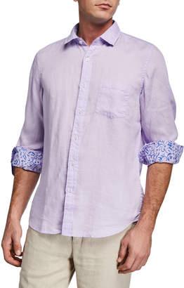 Neiman Marcus Men's Linen Long-Sleeve Shirt