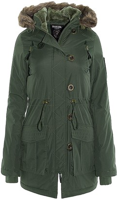 Brave Soul Womens Military Polyester Padded Parka Coat - Khaki - 10