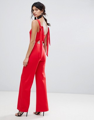 True Violet tie shoulder jumpsuit-Red