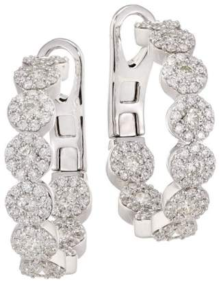Hearts On Fire Fulfillment 18K White Gold, Round Diamond Hoop Earrings