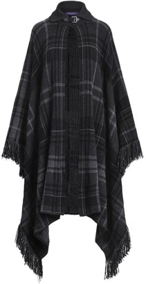 Ralph Lauren Cashmere Plaid Fringe Sweater Cape