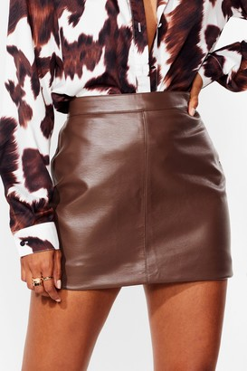 Nasty Gal Womens Faux Leather Bodycon Mini Skirt - Brown - 10