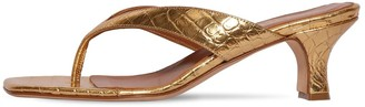 Paris Texas 45mm Embossed Metallic Leather Thongs