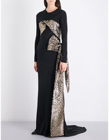 A.F.Vandevorst Sequin-embellished stretch-silk gown