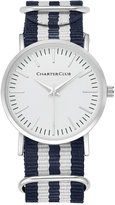 Charter Club Women's Silver-Tone Striped Fabric-Strap Watch 36mm 17761, Only at Macy's