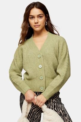 Topshop PETITE Sage Pointelle Knitted Cardigan