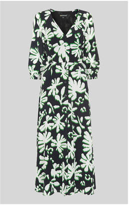 Whistles Palm Leaf Print Silk Dress