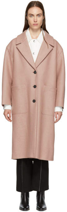 Harris Wharf London Pink Pressed Wool Oversized Coat