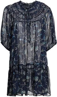 Free People Kara Sheer Floral Tunic Blouse