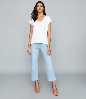 Reiss Lotta - Linen V-neck T-shirt in White