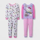 Hello Kitty Toddler Girls' 4-Piece Pajama Set - Pink
