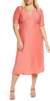 ELOQUII Textured Empire Waist Midi Dress