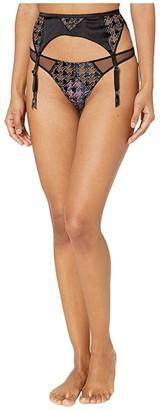 Fleur Du Mal Houndstooth Embroidered Garter Belt (Black Houndstooth) Women's Underwear