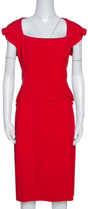 Elie Saab Red Stretch Crepe Midi Dress M